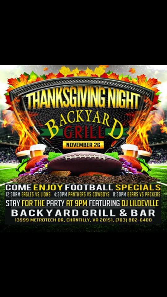 Thanksgiving Night - Backyard Grill Restaurant