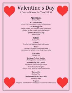 valentines day menu 2017