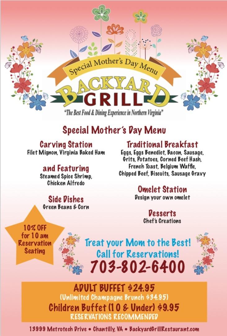 Mother's Day Brunch - Backyard Grill Restaurant
