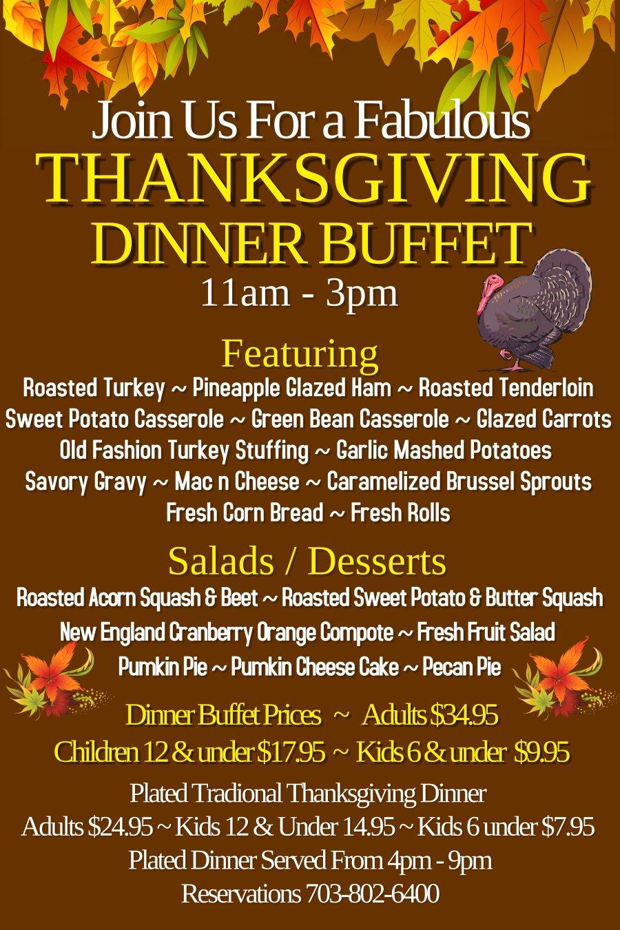 Thanksgiving Menu - Backyard Grill Restaurant