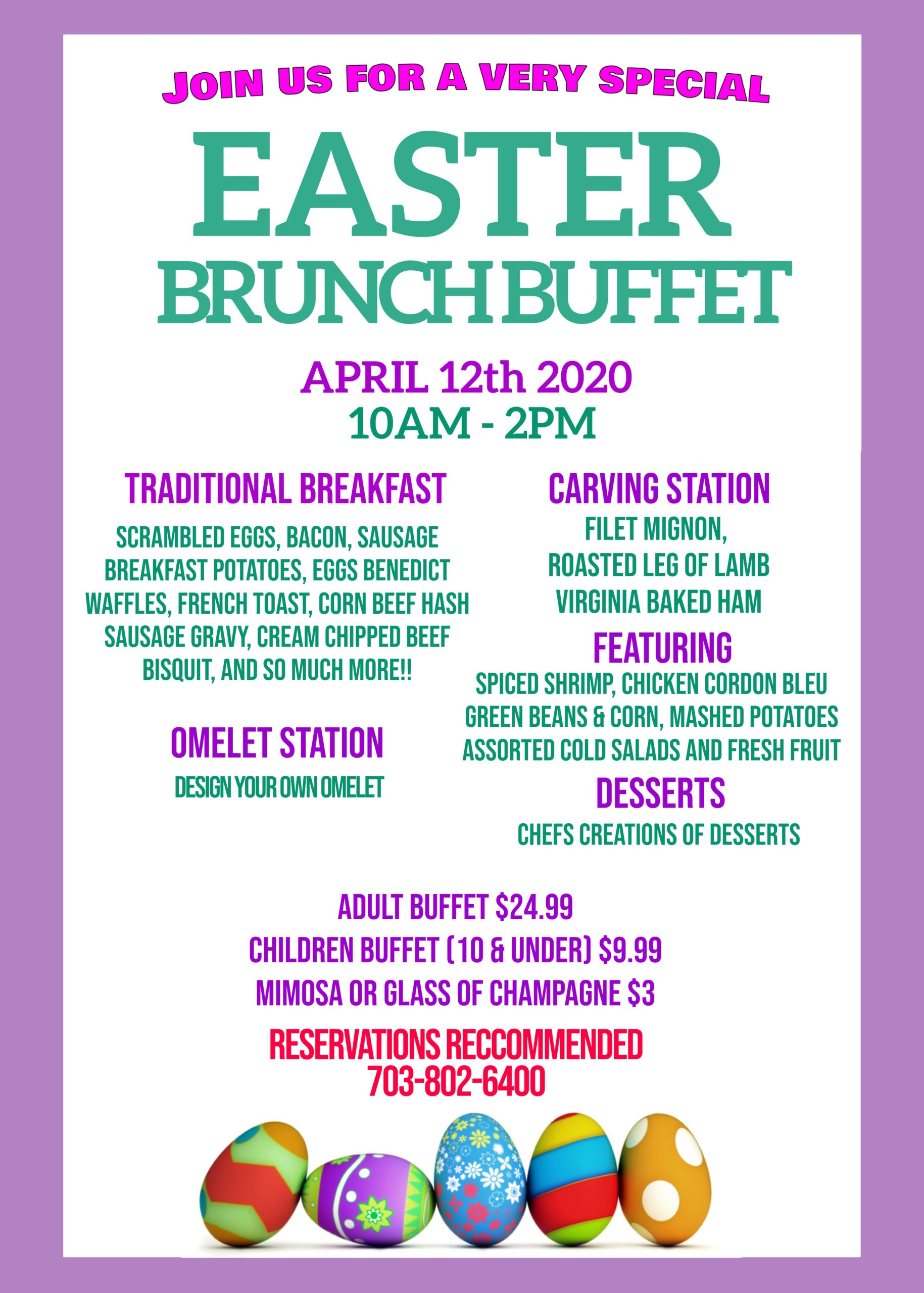 Easter Brunch Buffet 2020 | Backyard Grill, Chantilly