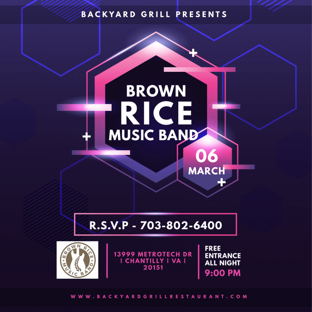 Brown Rice & Dj Pacman Playing Live At Backyard Grill, Chantilly