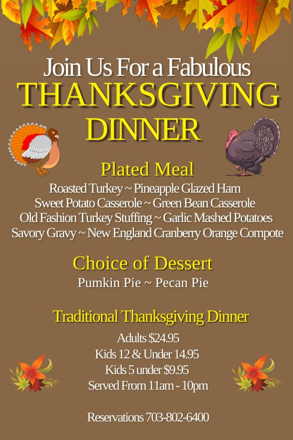 Thanksgiving Dinner Special - Chantilly, Centreville, Herndon, Southriding, Fairfax